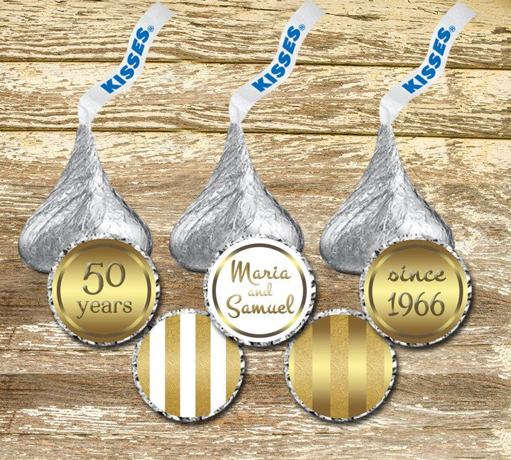 Hershey Kisses Stickers - Gold Wedding Kisses, Gold Anniversary Kisses, Personalized Hershey, Personalized Wedding, 50th Anniversary Labels by LittlePrintsOttawa on Etsy