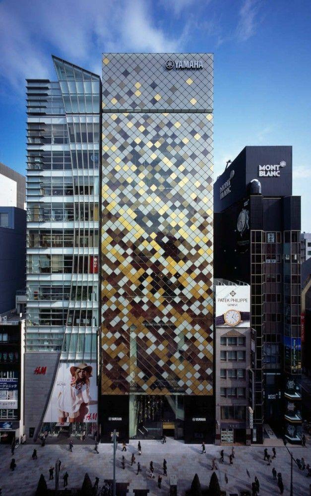 Yamaha Building | Ginza (銀座), Chūō Ward (中央区), Tokyo (東京), Japan (日本) | Architects: Nikken Sekkei LTD / HOZUMA CHINO+HIROYUKI SHIRAI+TAKEYOSHI SUZUKI