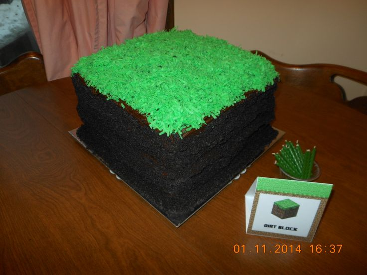 Minecraft Dirt Block Cake! Cake