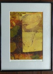 """Dialogue with nature"" Three prints on vintage paper, thin black frame and mat-board. P1010990"