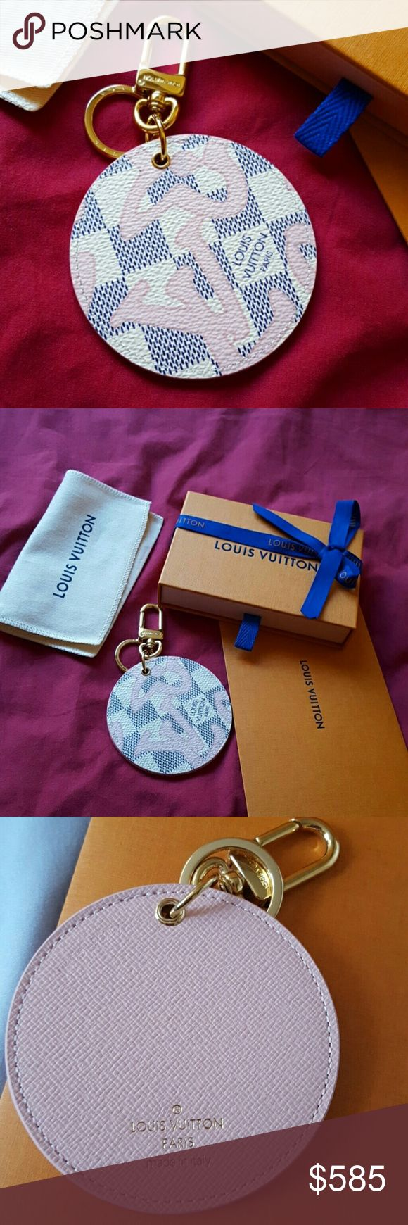 New authentic Louis Vuitton Tahitienne bag charm Brand new authentic Louis Vuitton Tahitienne limited edition bag charm/ key ring. Comes with everything,  dust bag, box, gift receipt.  Made in Italy. Datecode is very hard to read, see last picture,  right above my thumb.  I think it says BC0197. See last picture. On the left side of the datecode is the model number which says M61943.  This is extremely cute!  I'll be video recordingand taking pictures during packing & shipping at post…