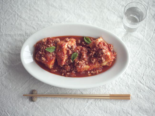 厚揚げと豚ひき肉のトマト煮