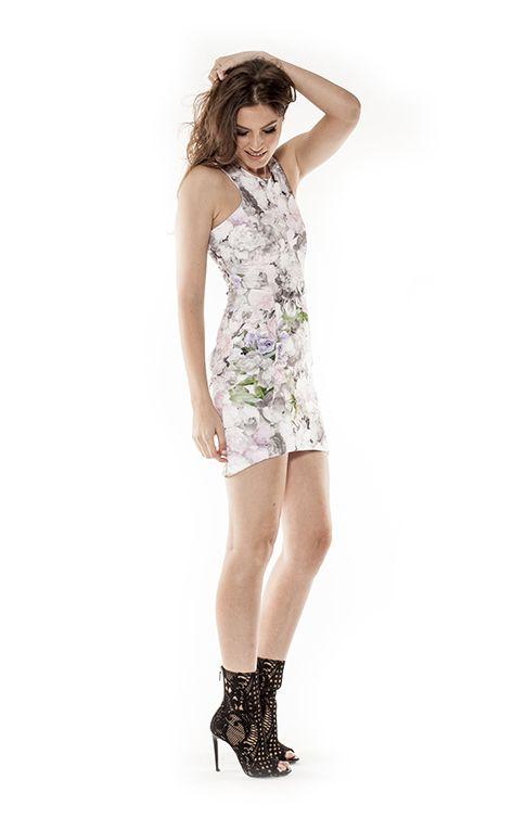 The Bleecker dress from THE CLIQUE #theclique #shoptheclique #floraldress #tightdress #fashioninspo #balmain #balmainshoes