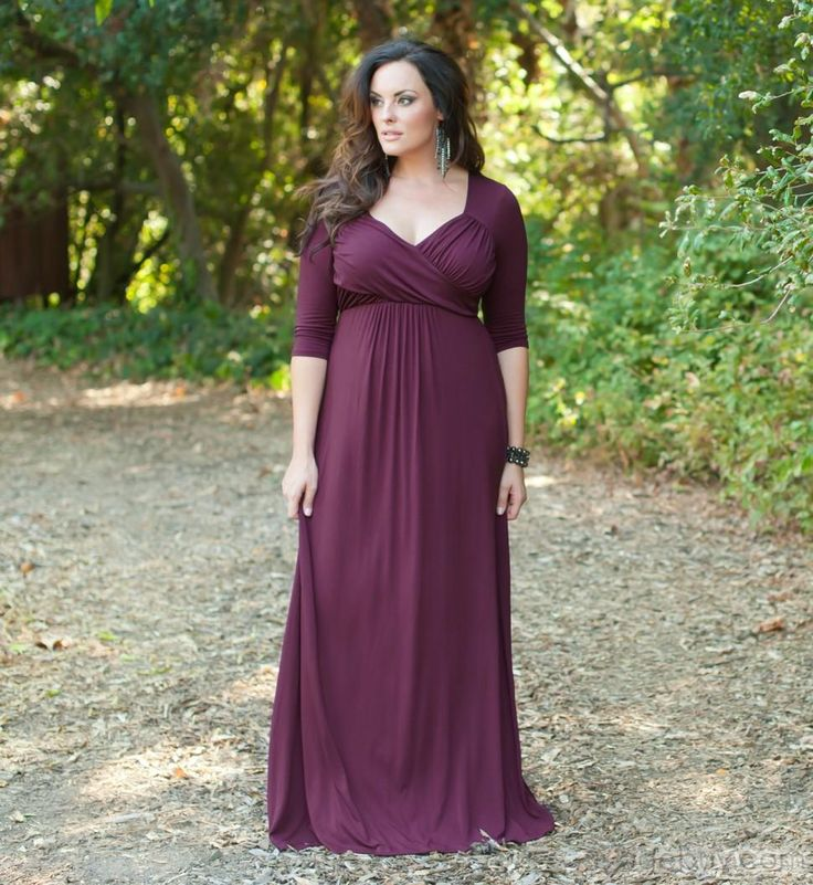 This plus size evening gown has an empire waist.  There is mild gathering on the bust line.  The elbow length sleeves help cover the upper arms.  Simple & elegant evening #dresses like this can be made for you with any custom changes with ease.  We offer custom #plussizeeveningdresses that are affordable.  (We can also replicate any gown from a picture.)