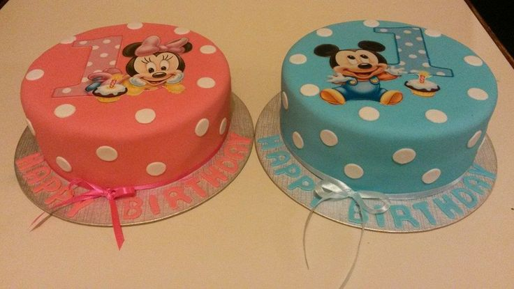 1st birthday cakes for twin boy and girl