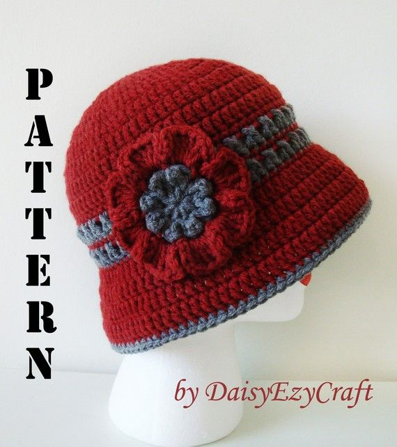 Symbol Crochet PATTERN & Colorful step by step images - PDF format - Crochet Lady Cloche - Instant download