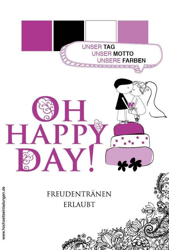 """Hochzeit - oh happy day! Sie wünschen sich eine romantische Vintage Hochzeit? Dann setzen Sie mit dieser Einladungsserie den richtigen Auftakt und ein """"Happy Beginning"""" der besonderen Art.  http://www.hochzeitseinladungen.de/hochzeit/kartengalerien/modern-farbenfroh/action/show/card/DEB031.html?q=happy"""