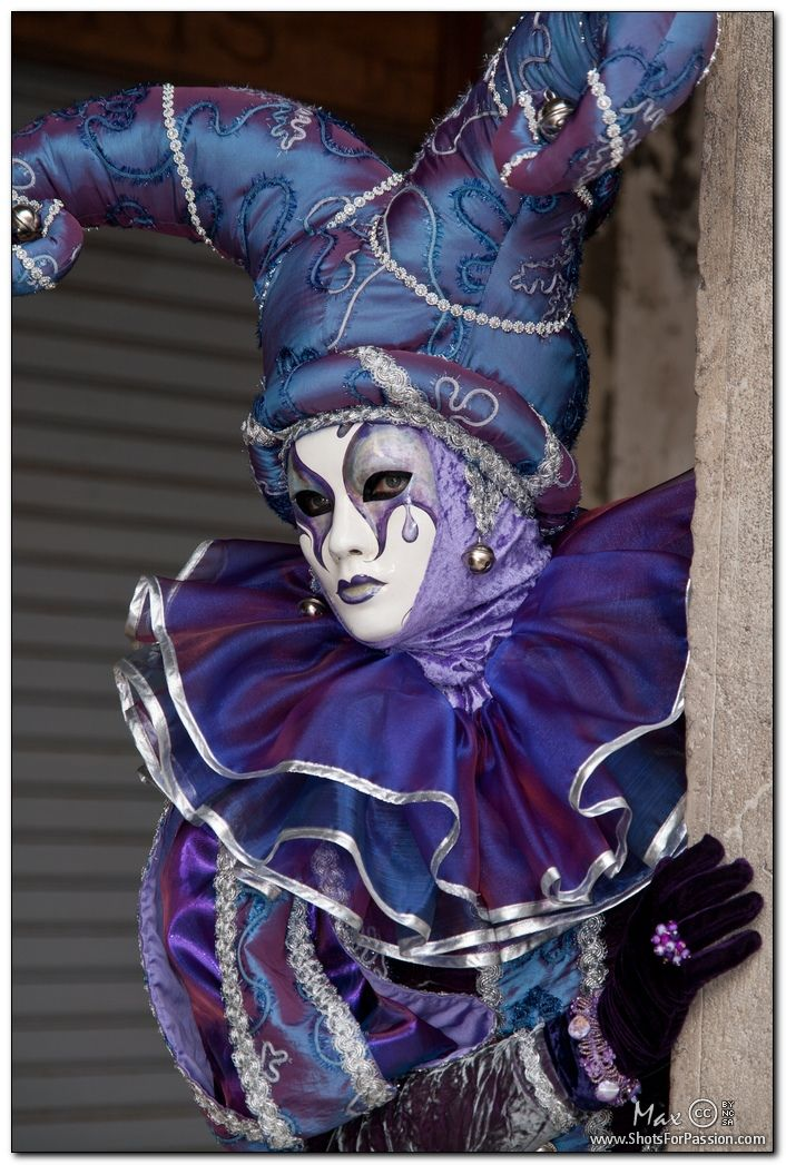 Venice, Carnival 2011: Violet jester mask  These costumes, masks and mystery are the inspiration for some of my work.