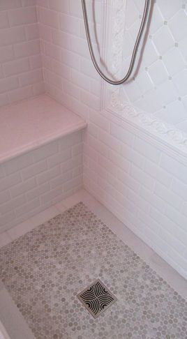 Master shower floor idea Traditional Bathroom Tile...everything but that framed thing on the wall