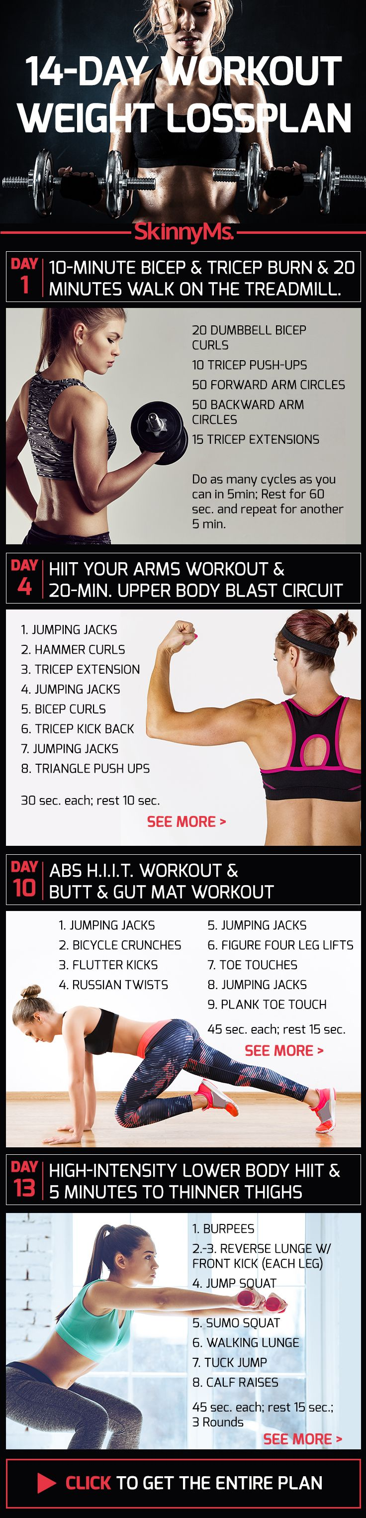A healthy weight loss plan you can live with! | 14-Day Workout Weight Loss Plan #weightloss #fitness #workout