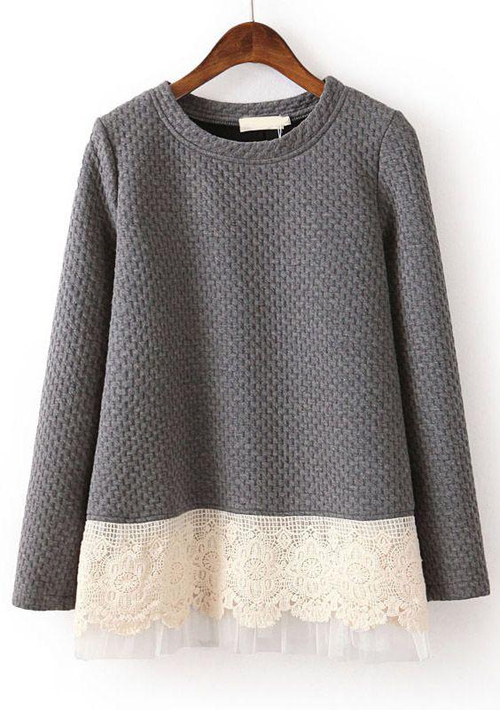 Grey Long Sleeve Contrast Lace Loose Sweatshirt - Sheinside.com
