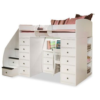 berg furniture sierra twin space saver loft bed with desk and storage ahhh if only