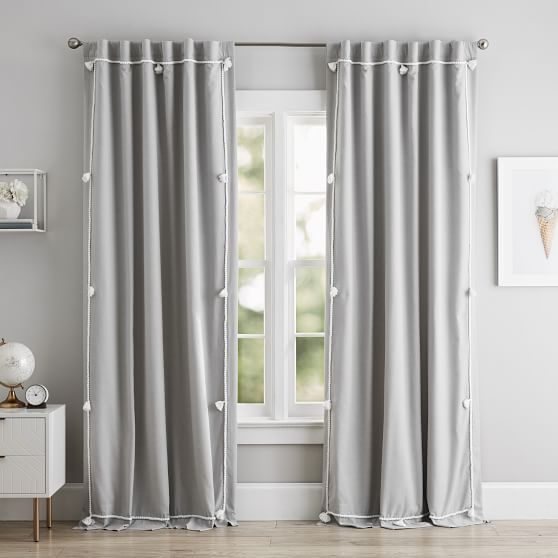 Solid Classic Tassel Blackout Curtain Panel In 2020 Curtains Blackout Curtains Custom Drapes
