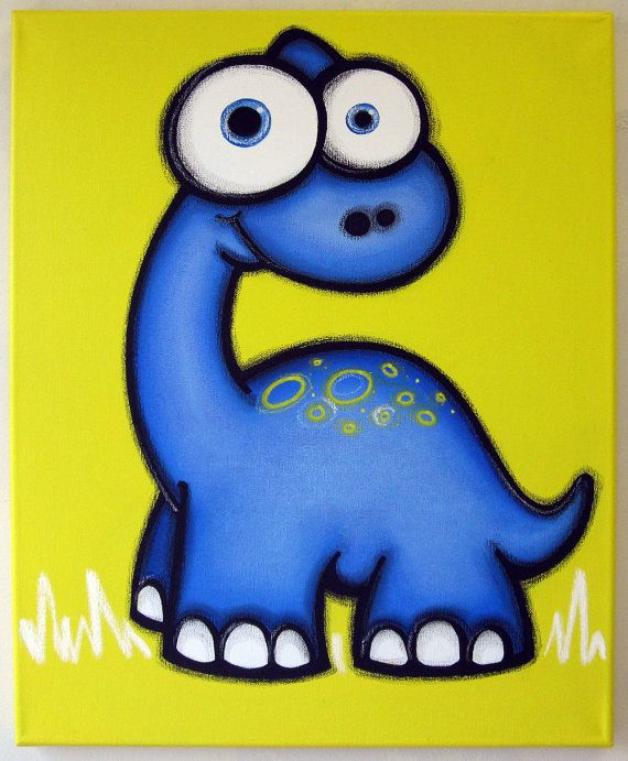 bLUe dINOSaUR - 16 x 20 original painting, dinosaur art for kids room or nursery, dinosaur wall art