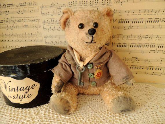 Vintage Teddy Bear Boy Preschool Toy Montessori Toy Vintage