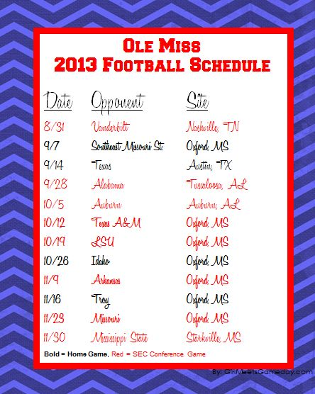 ole miss spirit pics | 2013 Ole Miss Football Schedule Printable | girl meets gameday