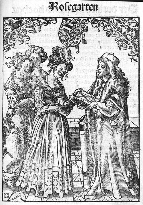 Katharina von Braunschweig-Lüneburg being presented with a book in a print ascribed to Martin Kaldenbach or Conrad Merckel,1513  Attachable sleeves