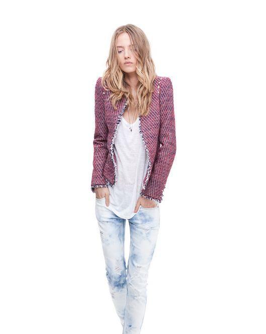 Zara - March 2012 TRF Lookbook: Studded blazer $89.90, T-shirt with open back $19.90, Ripped skinny jeans $59.90, Basic sandal $49.90