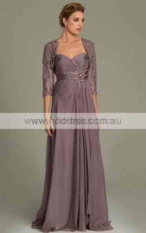 A-line Sweetheart Empire 3/4-Length Sleeves Floor-length Evening Dresses zgh015--Hodress