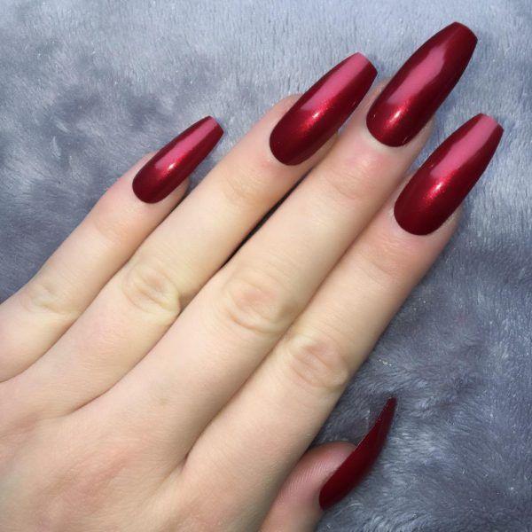 Metallic Red Ballerina Red Nails Nails Long Red Nails