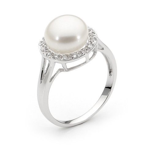Sterling Silver White 9-9.5mm button Freshwater Pearl, Cubic Zirconia bezel Ring