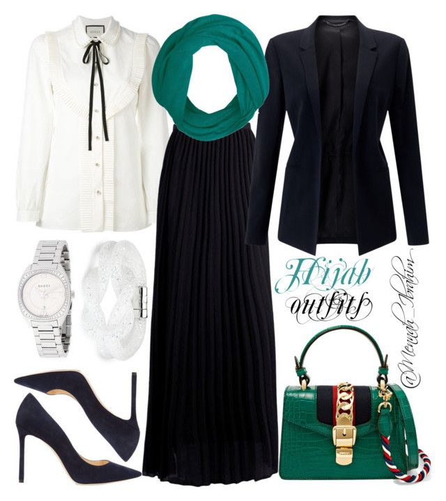 """""""#Hijab_outfits #modesty #Gucci #Teal #Navy"""" by mennah-ibrahim on Polyvore featuring Gucci, Boohoo, Jigsaw, Jimmy Choo and Swarovski"""