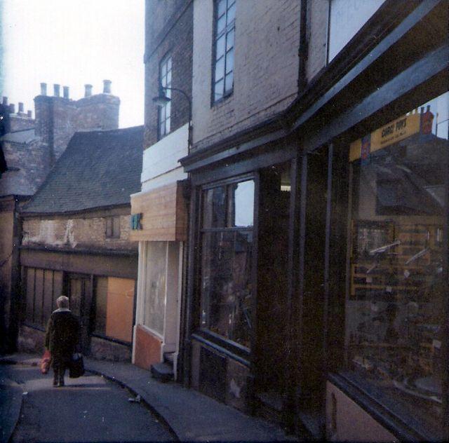 Nottingham's medieval Drury Hill, boarded up pre demolition, c1970.