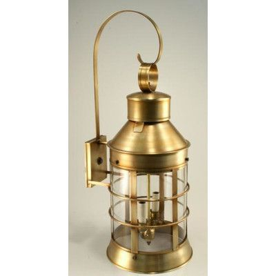 Northeast Lantern Nautical 1 Light Outdoor Wall Lantern Finish: Dark Antique Brass, Shade Type: Clear Seedy