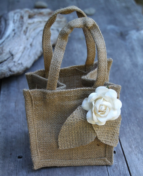 Rustic Burlap Flower Girl Baskets : Burlap flower girl basket rustic wedding by sparkleandposy