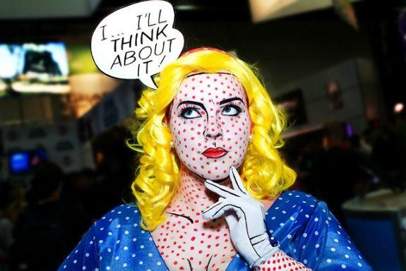 Roy Lichtenstein Pop Art Costume. This website has great Art inspired Halloween costume ideas.