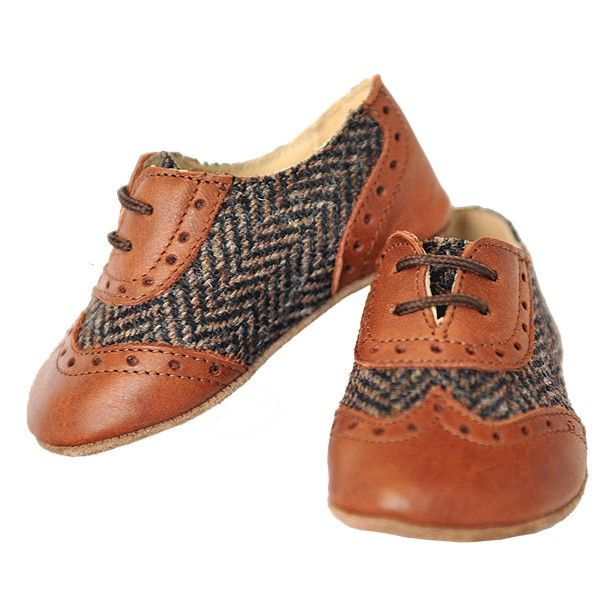 SONATINE BROWN BABY LEATHER LACE-UPS how cute would these be for the little man? @Emma Zangs Shaver