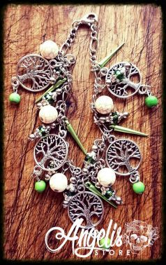 Tree of Life and Howlite Bead Charm Bracelet