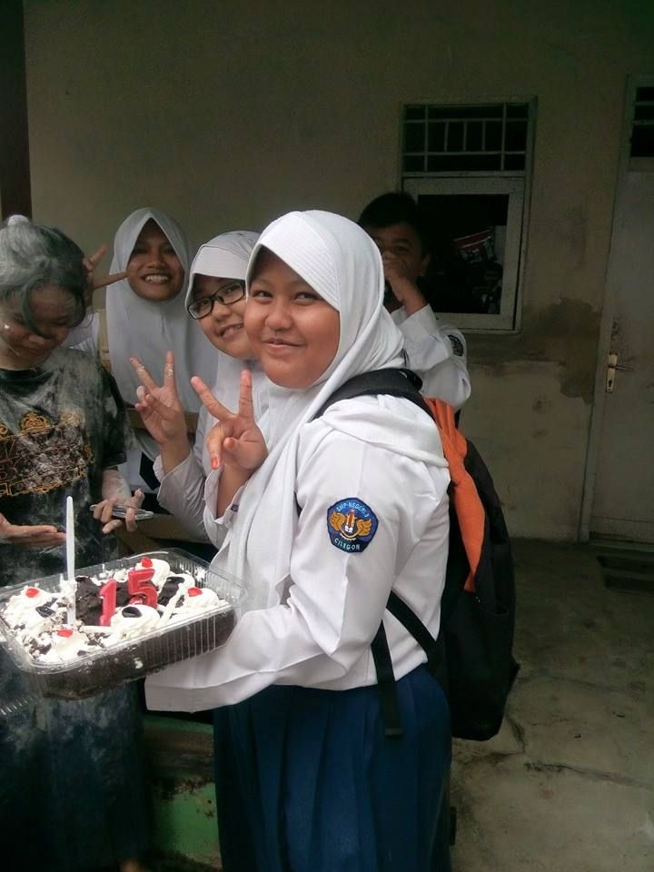 "this is time when my friends"" nur,dinda,wulan,rahayu and ammar come and bring the birthday's cake :) :)"