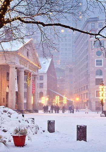 Christmas snow at Quincy Market, Boston, MA, USA   by Susan Cole Kelly