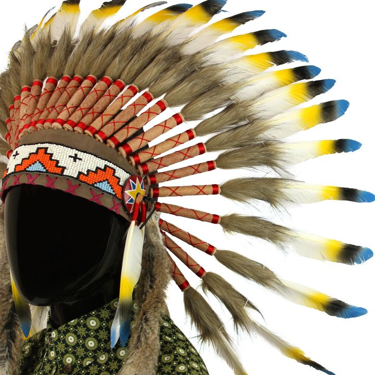 Coiffe Indienne Avec Plumes Bleues Noires ET Jaunes   eBay