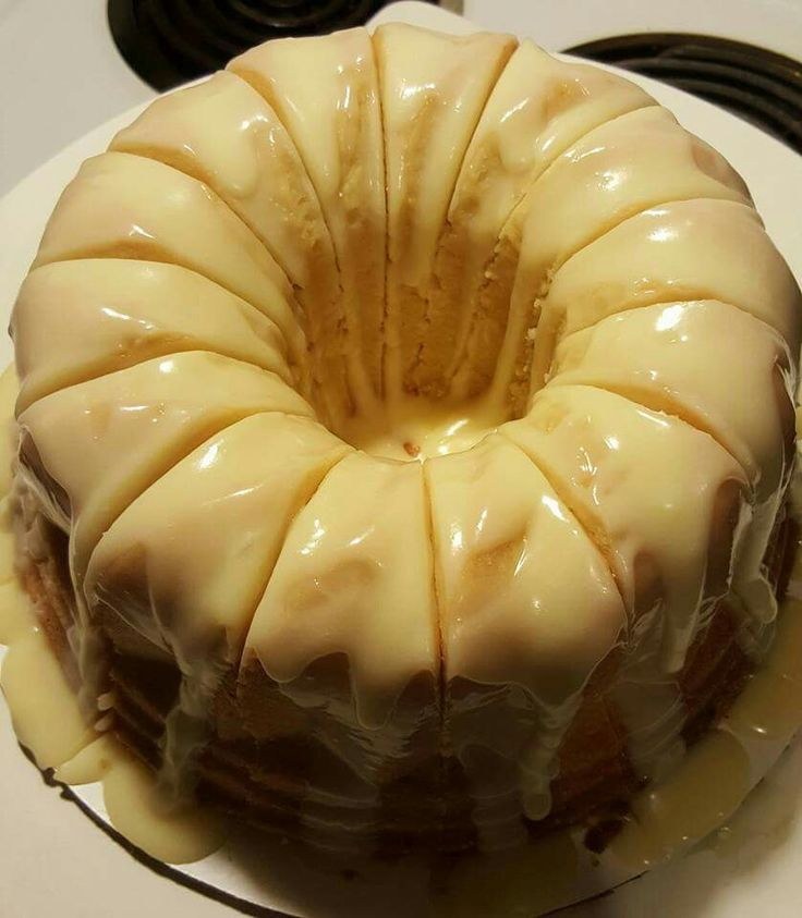 Vanilla Buttermilk Pound Cake with cream cheese glaze.
