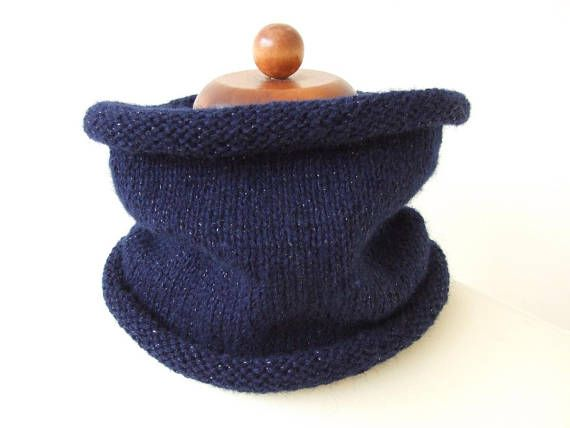 navy blue cowl knit neckwarmer sparkle cowl with metallic