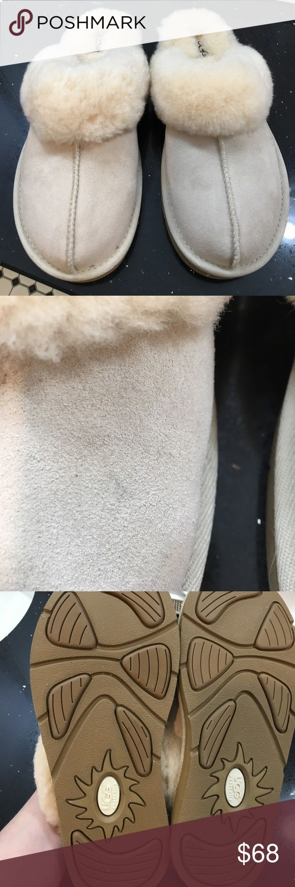 NWOT Ugg Shoes. Light tan color. Never worn. Upper leather. Lining sheepskin. Rubber soles. Can be worn outside. Little mark on right shoe shown in pic. UGG Shoes