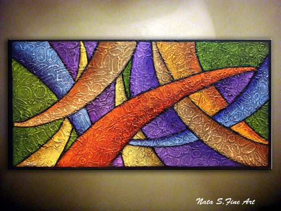 """Texture ABSTRACT Art Painting.Heavy Textured Modern Large Artwork.Palette Knife.Purple,Green,Yellow,Orange... 48"""" x 24"""" - by Nata S."""