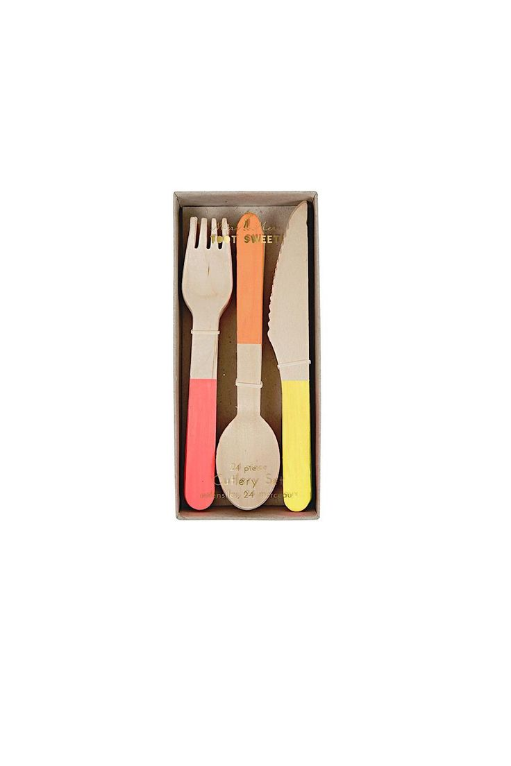 Toot Sweet Cutlerry set.  Cute party cutlery crafted in light colored birchwood finished with neon handles.  The package contains 24 pieces 8 knives forks and spoons in 3 colors. Wooden Cutlery  by Meri Meri. Home & Gifts - Gifts - Gifts by Occasion - Entertaining & New Home Nebraska