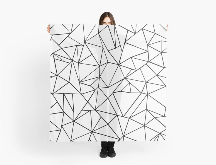 Abstraction Outline Black on White Scarf by ProjectM, $35