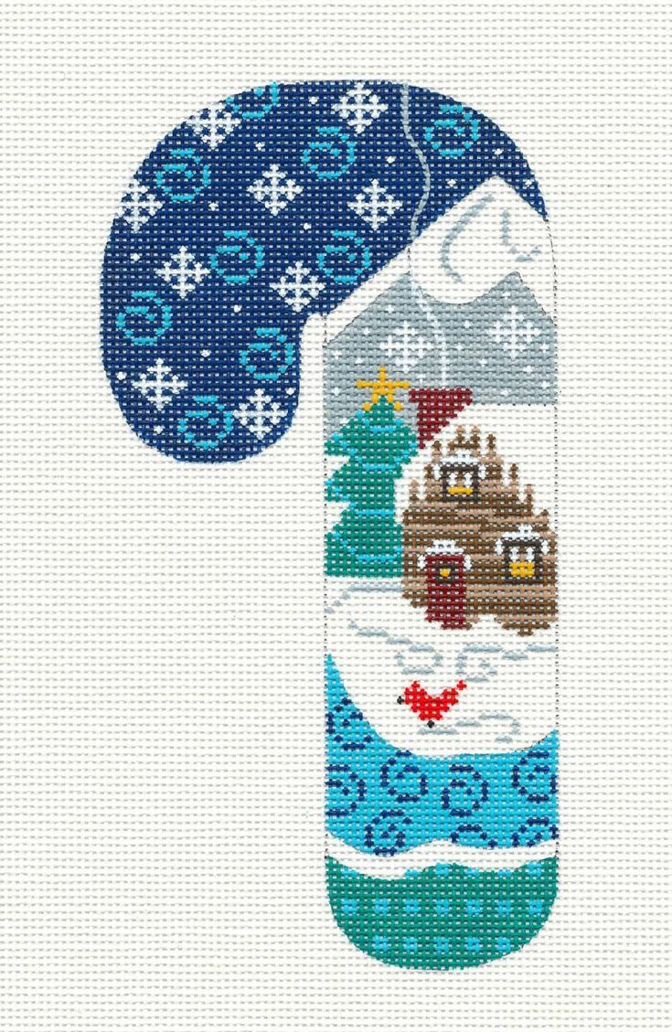 Danji Candy Cane Log Cabin w Snowflakes Handpainted Needlepoint Canvas   eBay