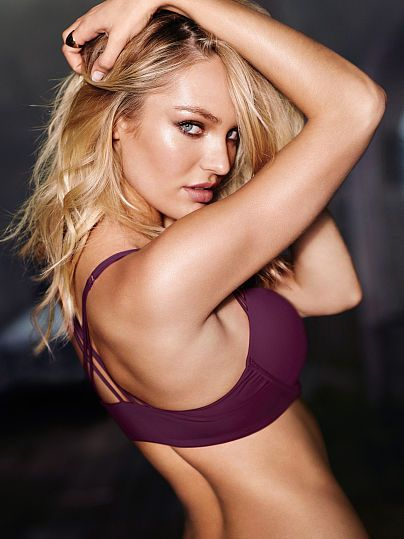 Worn by : Angel Candice Swanepoel  Type : Strappy Back Push Up Bra  Color : Black Orchid