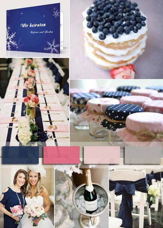 3 hochzeit 2014 hochzeitskarte schnee winter marineblau grau pink Hochzeit Trendfarbe 2014