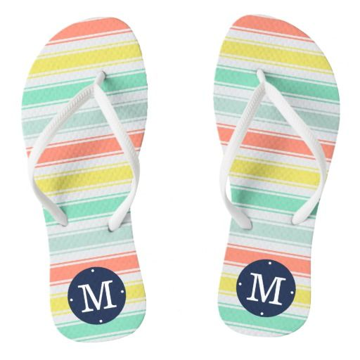 "Sunwashed Neon Summer Cabana Stripe Monogram Flip Flops  Step into cute summer style with our faded neon stripe flip flops. Design features wide stripes of sunwashed aqua, coral, chartreuse yellow and aqua, with your single initial monogram in navy blue at the heel.   Need another color or pattern, or help customizing? Contact me via the ""Ask this Designer"" link on this page."