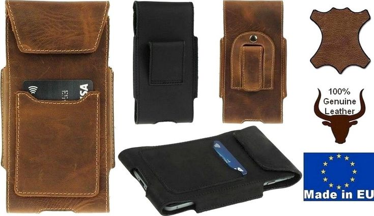 TOGO GENUINE LEATHER BELT MOUNTED POUCH WITH CARD POCKET CASE FOR MOBILE PHONES #Amadi