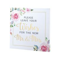 Watercolour Leave Your Wishes Wedding Canvas