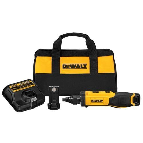 "DEWALT DCF681N2 8V Max Gyroscopic Screwdriver with Conduit Reamer DEWALT  Motion Activation variable speed and reversing control by twisting left or right Ream 1/2"", 3/4"" and 1"" conduit and install fittings in a fraction of the time Variable speed 0-430 rpm for fastening into wood, plastic, and light-gauge metal Battery State of Charge on tool indicates when to charge packs LED headlights for illumination in confined areas without shadowing Motion Activation variable speed and revers.."