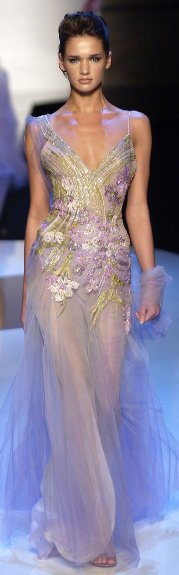 Elie Saab ~ Couture Sequin + Applique Sheer Lavender Gown 2013