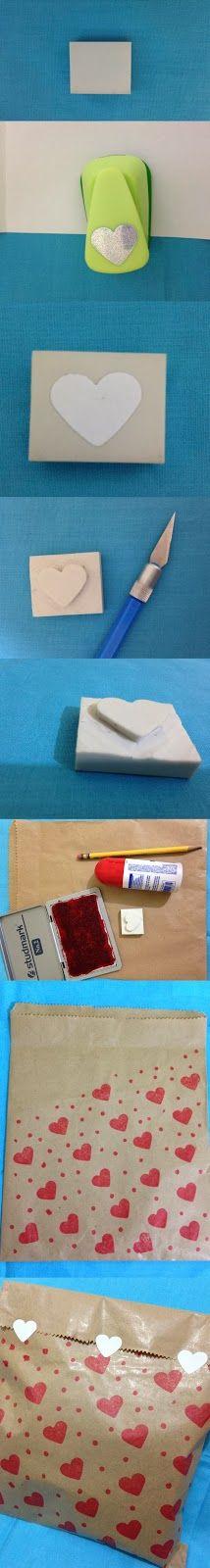 Crear sellos caseros con goma de borrar